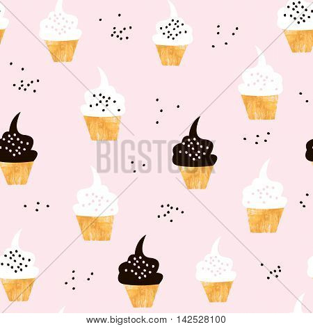 Seamless pattern with cute cupcakes. Modern creative background with cupcake and hand drawn elements