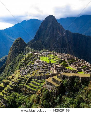 Ancient Incan Machu Picchu UNESCO world heritage site in the mountains
