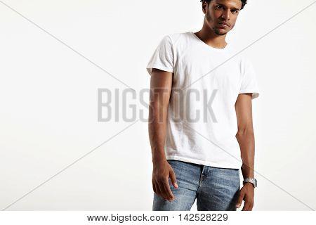 Dark Skinned Male Presenting Simple White T-shirt