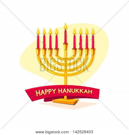 Happy Hanukkah, concept design with menorah and ribbon, vector illustration