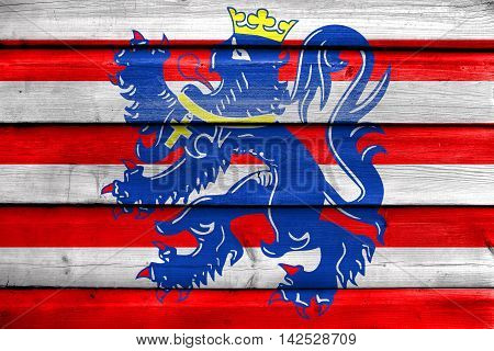 Flag Of Bruges, Belgium, Painted On Old Wood Plank Background