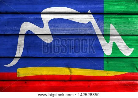 Flag Of Cape Town, South Africa, Painted On Old Wood Plank Background