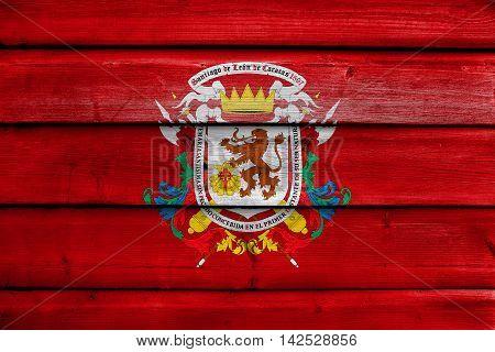 Flag Of Caracas, Venezuela, Painted On Old Wood Plank Background