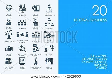 BLUE HAMSTER Library global business vector set of modern simple icons