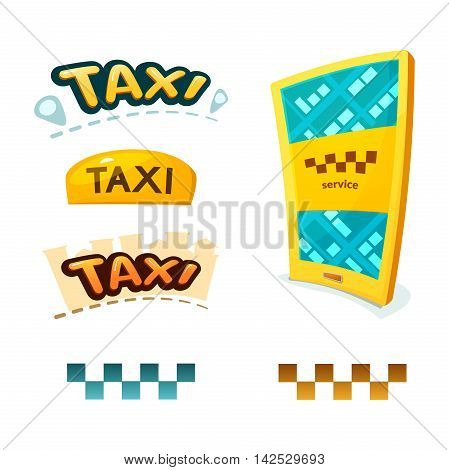Smartphone with application Taxi, yellow illuminated taxi sign, checkerboard sign and taxi logos, vector illustration