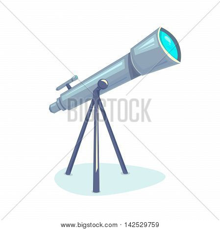 Telescope, astronomers equipment for Earth observation space, vector illustration