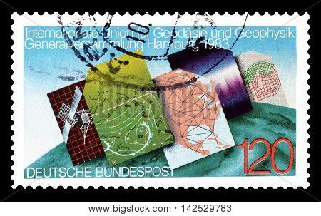 GERMANY - CIRCA 1983 : Cancelled postage stamp printed by Germany, that shows cartography.