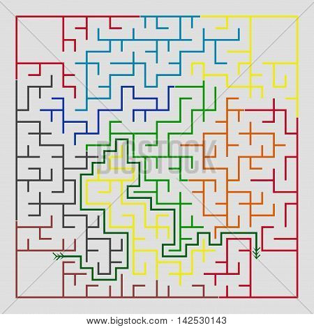 Many-colored square maze(24x24) with help on a gray background