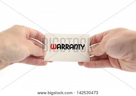 Warranty text concept isolated over white background