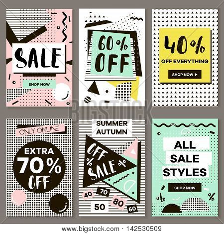 Media banners for online shopping mobile website banners posters email and newsletter designs. Vector creative sale banners template with hand drawn elements. Eyecatcher bunners in Memphis style.