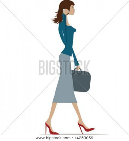 Illustration of a fashionable business woman in city