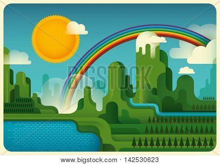 Illustration of a mountain landscape. Vector illustration.