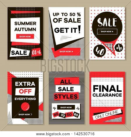 Media banners for online shopping mobile website banners posters email and newsletter designs. Vector creative sale banners template with hand drawn elements. Eyecatcher bunners set