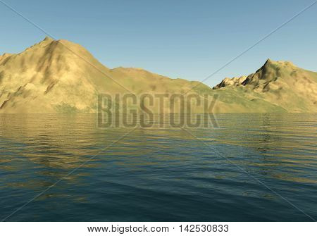 Mountains landscape and sea 3D illustration sandhills and water