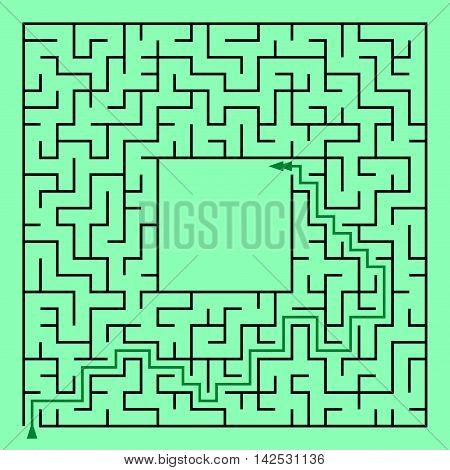 Black square maze (24x24) with help on a green background