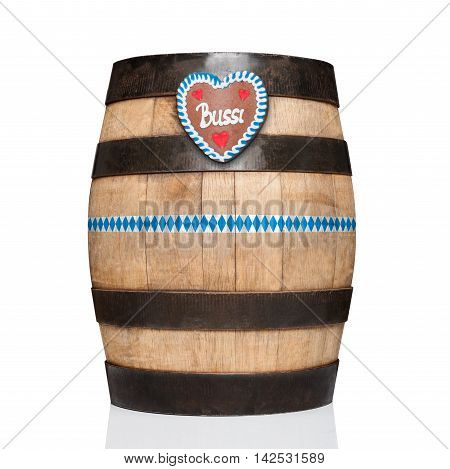 bavarian german beer barrel with gingerbread heart isolated on white background ready for the beer celebration festival in munich