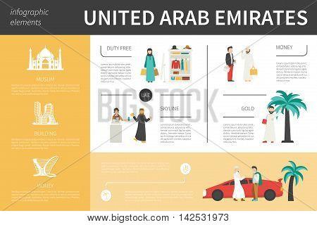 United Arab Emirates infographic flat vector illustration. Editable Presentation Concept