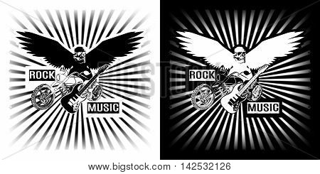 Eagle with Skull motorcycle chopper circuit and electric black and white clipart.