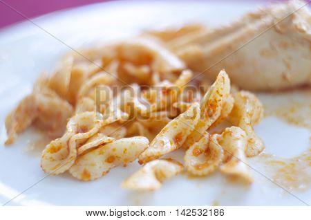 Italian pasta farfalle butterfly bow-tie with tomato basil sauce. Pasta dish.Cooked farfalle pasta on plate. Italian cuisine.