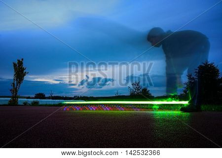 Lighting Skateboard With Rider On Long Exposure