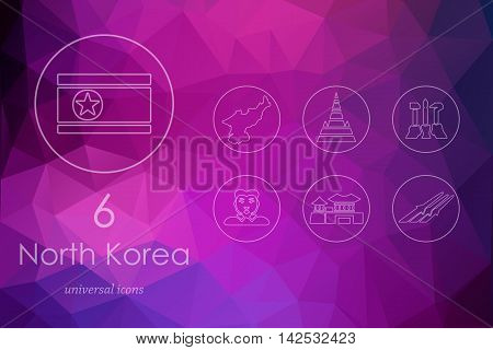 North Korea modern icons for mobile interface on blurred background