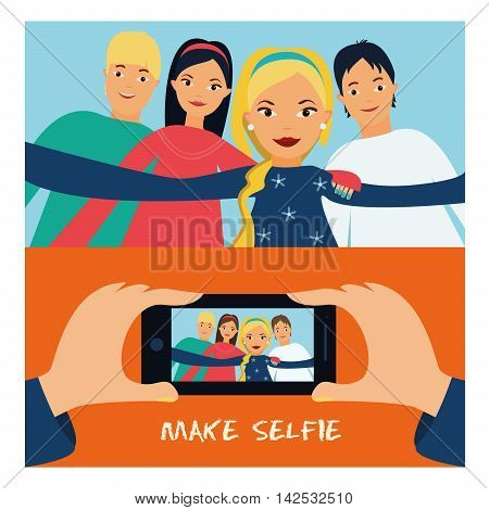 Selfie trend. Boys and girls are photographed.vector illustration