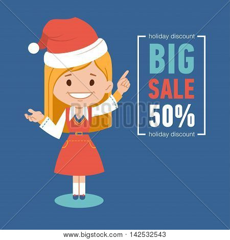 Holiday discount , big sale banner with woman seller in Santa Clause costume. Vector illustration