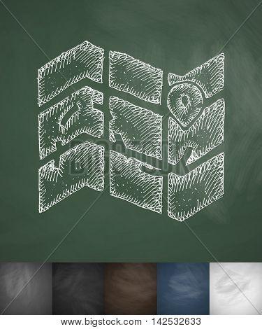 map icon. Hand drawn vector illustration. Chalkboard Design