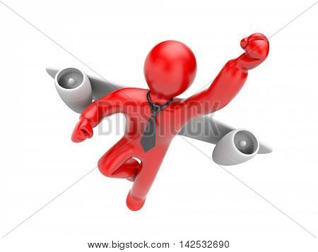 Businessman flies jetpack. 3d illustration