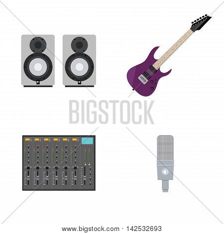 Set of Vector Illustrations in Flat Style of Rock Music Gear. Includes Guitar, Mixer, Microphone, Acoustics