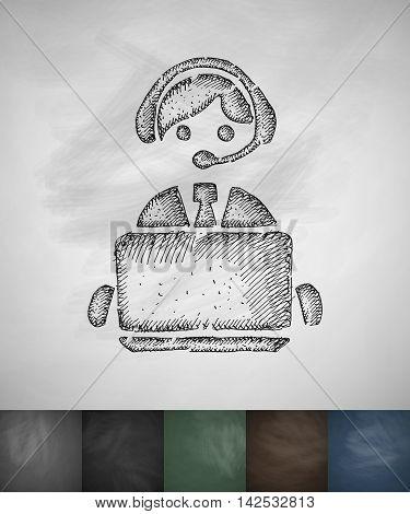 operator icon. Hand drawn vector illustration. Chalkboard Design