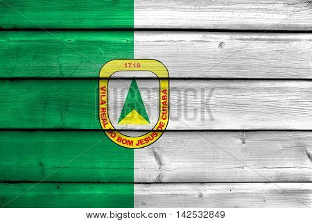 Flag Of Cuiaba, Mato Grosso, Brazil, Painted On Old Wood Plank Background
