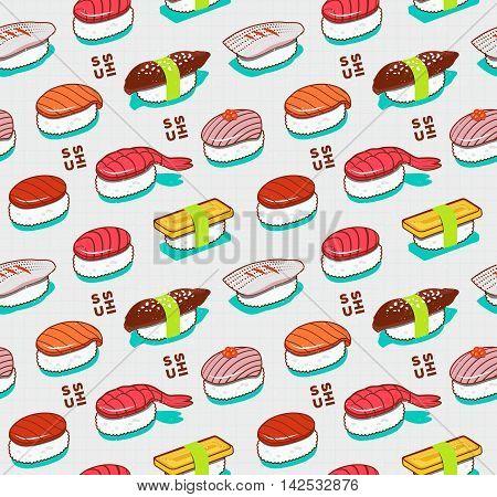 Seamless pattern of nigiri sushi. Cartoon sushi on line notebook paper background.