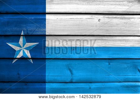 Flag Of Dallas County, Texas, Usa, Painted On Old Wood Plank Background