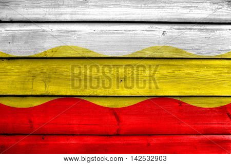 Flag Of Decin, Czechia, Painted On Old Wood Plank Background