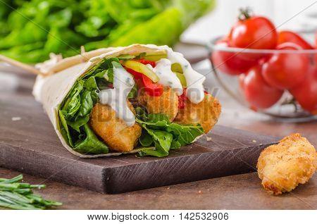 Tortilla With Breaded Chicken