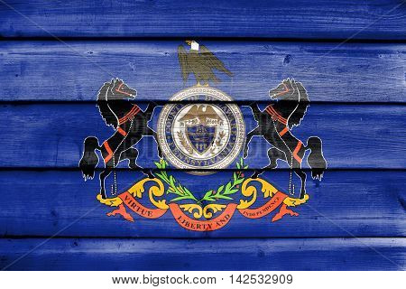 Flag Of Delaware County, Pennsylvania, Usa, Painted On Old Wood Plank Background