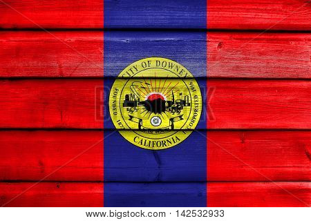 Flag Of Downey, California, Usa, Painted On Old Wood Plank Background