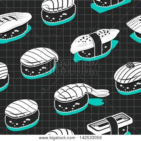 Sushi on line notebook paper seamless pattern. Print in neon colors.
