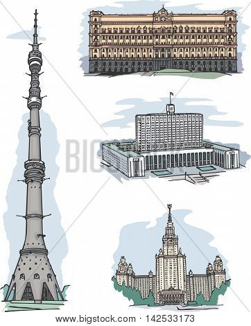 Kgb, White House, Msu And Ostankino Tv Tower