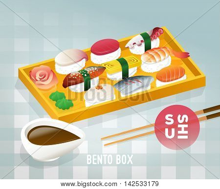 Traditional japanese bento food. Menu cover checkered background.