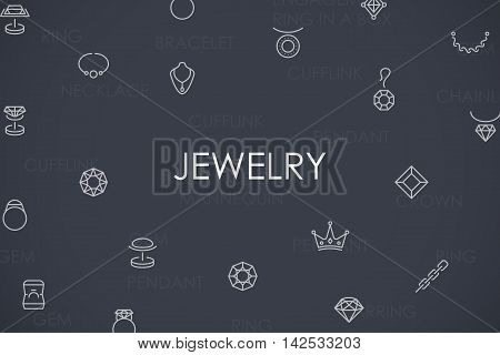 Thin Stroke Line Icons of Jewelry on White Background