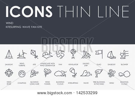 Thin Stroke Line Icons of Wind on White Background