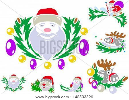 Set Of Patterns With St. Claus And Rudolph Reindeer