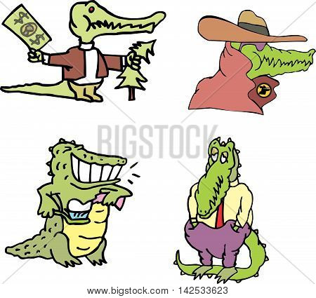 Set Of Comic Human-like Gators (crocomen)