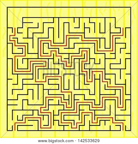 Black square maze(24x24) with help on a yellow background, vector