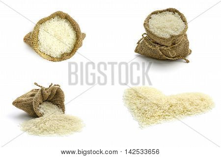 Isolated set of jasmine rice in sack and jasmine rice in heart shape on white background