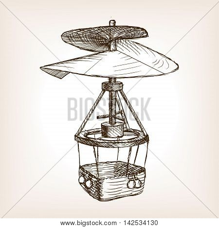 Antique helicopter aircraft sketch style vector illustration. Old engraving imitation. Helicopter hand drawn sketch imitation