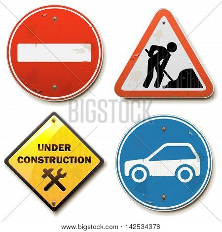 Vector Old Road Signs isolated on white background