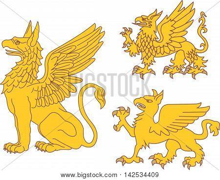 Set of heraldic griffin figures. Vector illustrations.